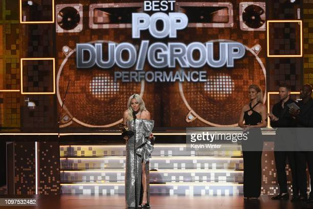 Lady Gaga accepts the Best Pop Duo/Group Performance award for 'Shallow' during the 61st Annual GRAMMY Awards at Staples Center on February 10 2019...