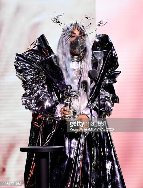 Lady Gaga accepts the MTV Tricon Award onstage during the 2020 MTV Video Music Awards broadcast on Sunday August 30th 2020
