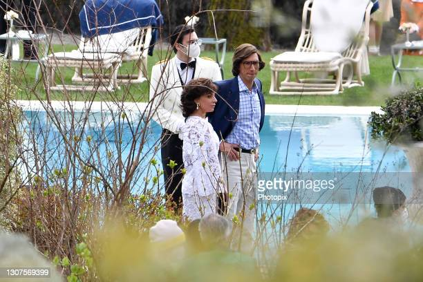 """Lady Gaga and Adam Driver are seen filiming """" House of Gucci"""" on March 17, 2021 in Como, Italy."""