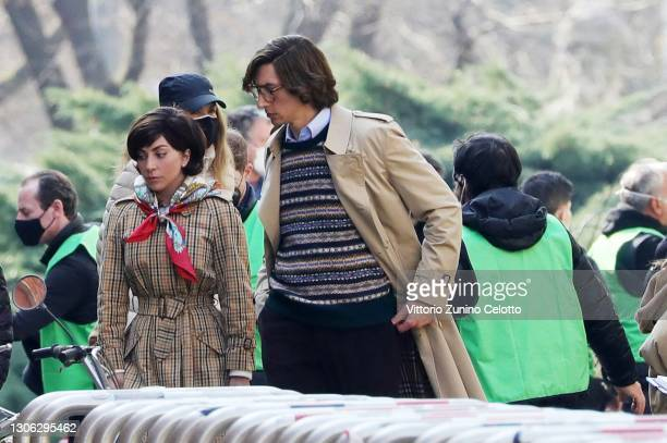 Lady Gaga and Adam Driver are seen filming 'House of Gucci' on March 10, 2021 in Milan, Italy.