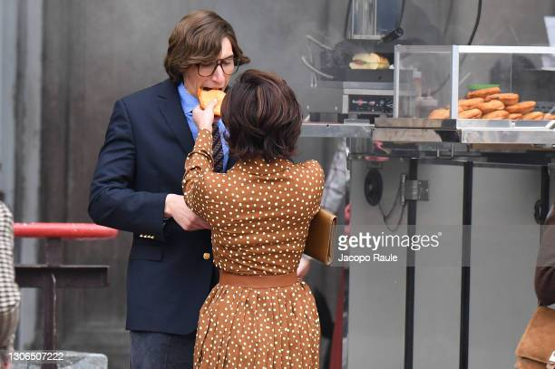 Lady Gaga and Adam Driver are seen filming 'House of Gucci' on March 11, 2021 in Milan, Italy.