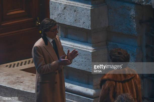 """Lady Gaga and Adam Driver are seen on the set of """"House of Gucci"""" on April 16, 2021 in Rome, Italy."""