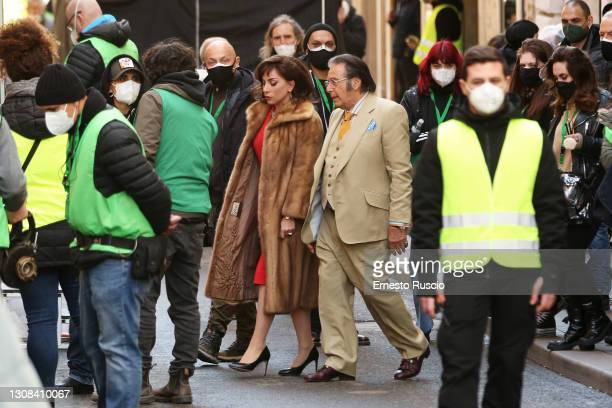 Lady Gaga and Al Pacino are seen filming 'House of Gucci' on March 22, 2021 in Rome, Italy.