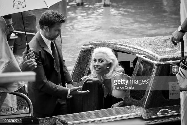 Lady Gaga and Bradley Cooper are seen during the 75th Venice Film Festival on August 31 2018 in Venice Italy