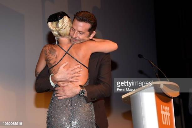 Lady Gaga and Bradley Cooper attend the A Star Is Born premiere during 2018 Toronto International Film Festival at Roy Thomson Hall on September 9...