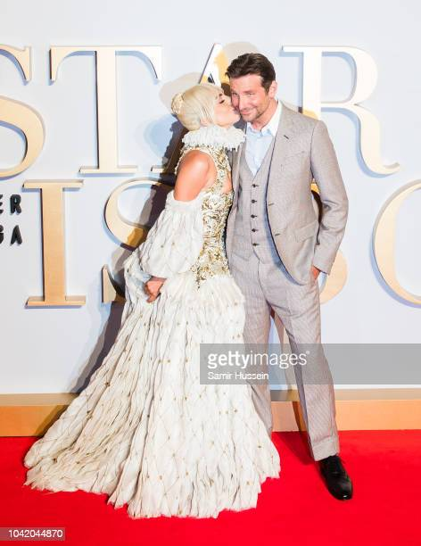 Lady Gaga and Bradley Cooper attend the UK premiere of 'A Star Is Born' held at Vue West End on September 27 2018 in London England