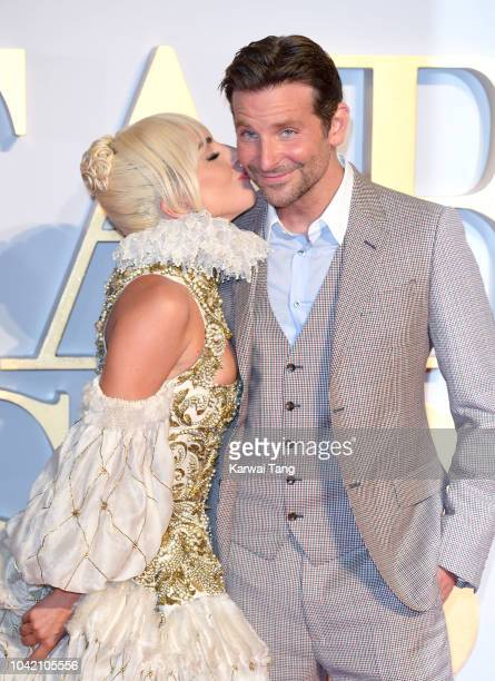 Lady Gaga and Bradley Cooper attend the UK premiere of 'A Star Is Born' at the Vue West End on September 27 2018 in London England