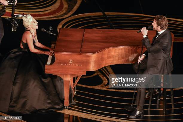 Lady Gaga and Bradley Cooper perform during the 91st Annual Academy Awards at the Dolby Theatre in Hollywood California on February 24 2019