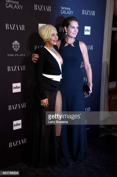 Lady Gaga and Brooke Shields attend Moet Chandon and Belvedere Vodka Toast to Harper's Bazaar Icons at The Plaza Hotel on September 5 2014 in New...