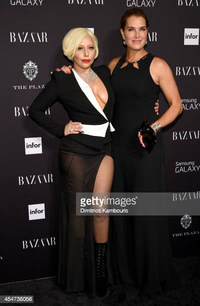 Lady Gaga and Brooke Shields attend Samsung GALAXY at Harper's BAZAAR celebrates Icons by Carine Roitfeld at The Plaza Hotel on September 5 2014 in...