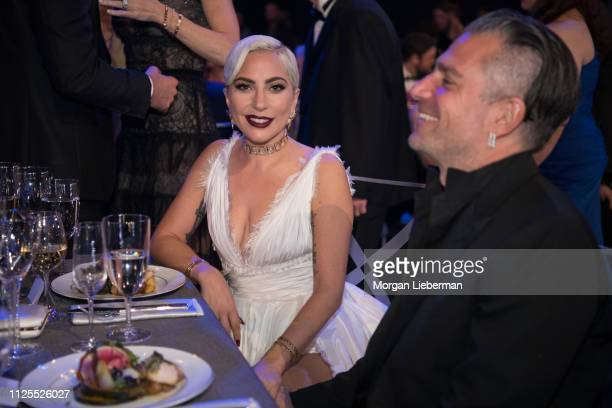 Lady Gaga and Christian Carino at the 25th Annual Screen Actors Guild Awards cocktail party at The Shrine Auditorium on January 27 2019 in Los...
