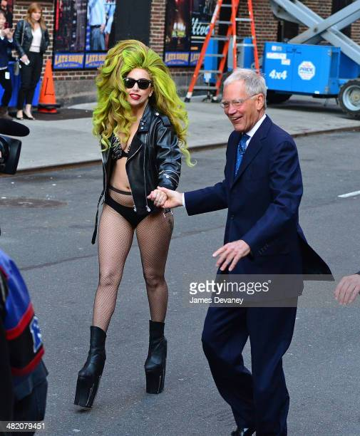 Lady Gaga and David Letterman arrive at Roseland Ballroom on April 2 2014 in New York City