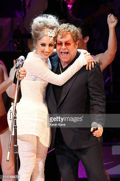 Lady Gaga and Elton John perform on stage during the Almay concert to celebrate the Rainforest Fund's 21st birthday at Carnegie Hall on May 13 2010...