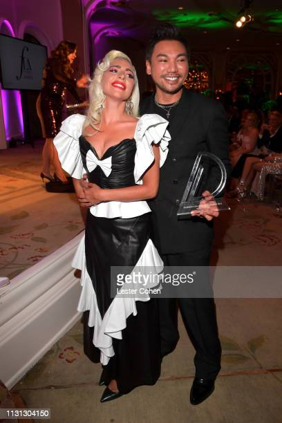 Lady Gaga and Frederic Aspiras with FIJI Water at the 5th Annual Fashion Los Angeles Awards on March 17 2019 in Los Angeles California