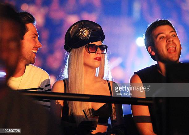 Lady Gaga and friends are seen in the crowd at the Britney Spears and Nicki Minaj concert at the Boardwalk Hall Arena on August 6 in Atlantic City NJ
