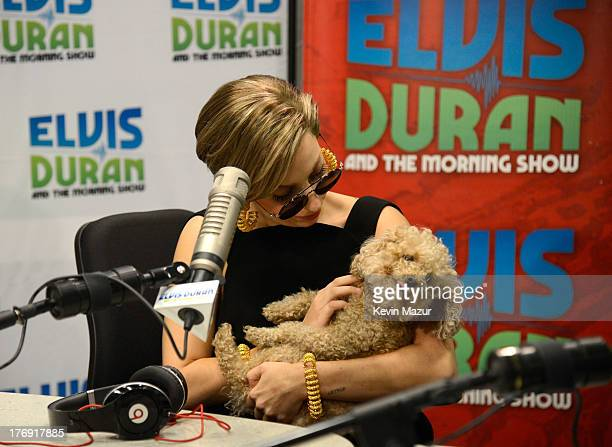 Lady Gaga and her dog Fozzy visit Elvis Duran and the Z100 Morning Show at Z100 Studio on August 19 2013 in New York City