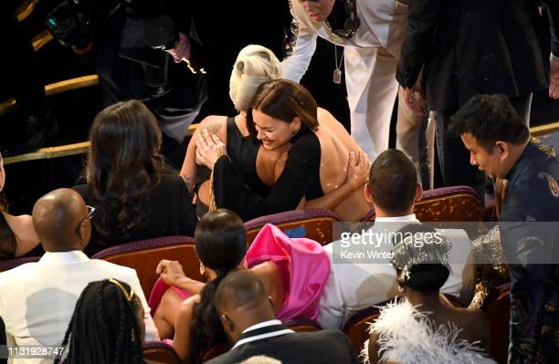 Lady Gaga and Irina Shayk during the 91st Annual Academy Awards at Dolby Theatre on February 24 2019 in Hollywood California