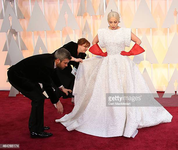 Lady Gaga and Keira Knightley arrive at the 87th Annual Academy Awards at Hollywood Highland Center on February 22 2015 in Los Angeles California