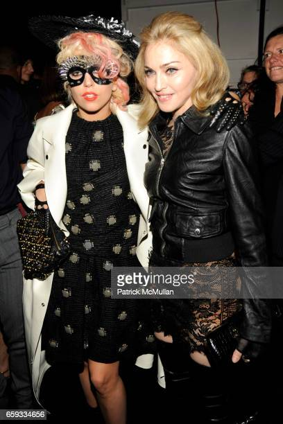 Lady GaGa and Madonna attend MARC JACOBS Spring 2010 Collection at NY State Armory on September 14 2009 in New York City