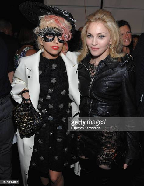 Lady Gaga and Madonna attend the Marc Jacobs 2010 Spring Fashion Show at the NY State Armory on September 14 2009 in New York City