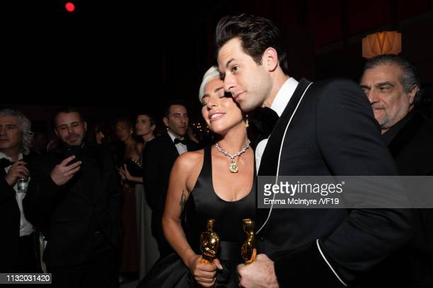 Lady Gaga and Mark Ronson attend the 2019 Vanity Fair Oscar Party hosted by Radhika Jones at Wallis Annenberg Center for the Performing Arts on...