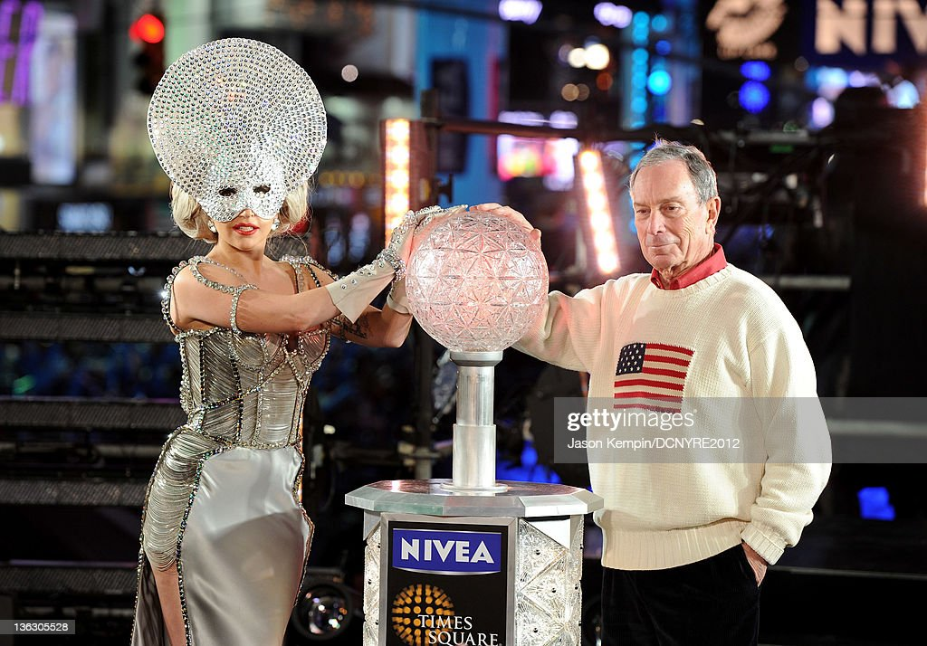Lady Gaga and Mayor Michael Bloomberg pose onstage during Dick Clark's New Year's Rockin' Eve with Ryan Seacrest 2012 at Times Square on December 31, 2011 in New York City.