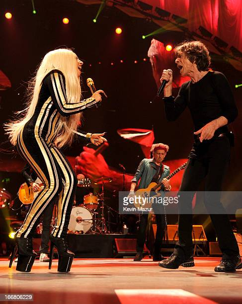 Lady Gaga and Mick Jagger of The Rolling Stones performs at the Prudential Center on December 15 2012 in Newark New Jersey The Rolling Stones concert...