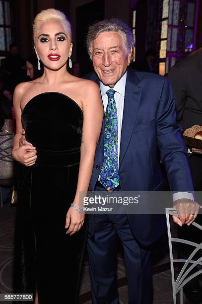 Lady Gaga and music legend Tony Bennett celebrate his 90th birthday at The Rainbow Room on August 3 2016 in New York City