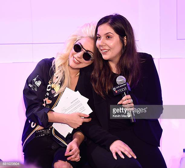 Lady Gaga and Natali Germanotta speak to customers who made a lovebravery qualifying purchase at the launch of Bravery by Lady Gaga and Elton John at...