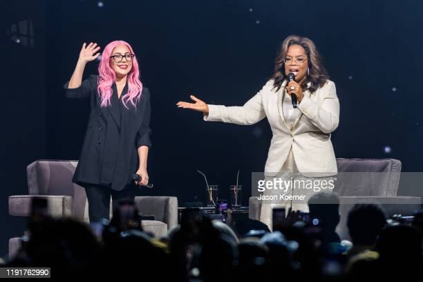 Lady Gaga and Oprah Winfrey speak during Oprah's 2020 Vision Your Life in Focus Tour presented by WW at BBT Center on January 4 2020 in Sunrise...