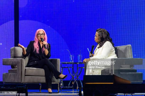 Lady Gaga and Oprah Winfrey speak during Oprah's 2020 Vision: Your Life in Focus Tour presented by WW at BB&T Center on January 4, 2020 in Sunrise,...