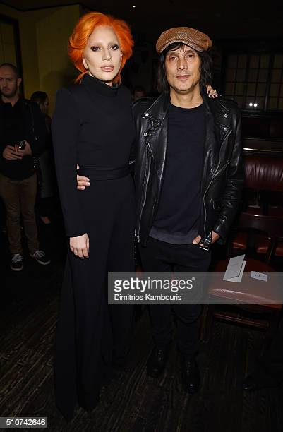 Lady Gaga and photographer Vinoodh Matadin attend the Brandon Maxwell A/W 2016 fashion show during New York Fashion Week at The Monkey Bar on...
