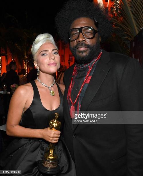 Lady Gaga and Questlove attend the 2019 Vanity Fair Oscar Party hosted by Radhika Jones at Wallis Annenberg Center for the Performing Arts on...
