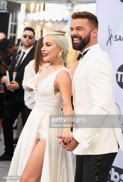 Lady Gaga and Ricky Martin attend the 25th Annual Screen ActorsGuild Awards at The Shrine Auditorium on January 27 2019 in Los Angeles California