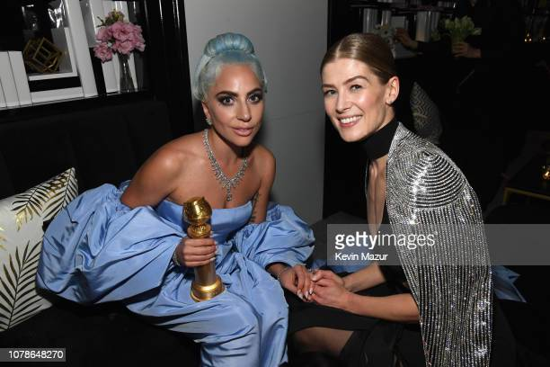 Lady Gaga and Rosamund Pike attend the 2019 InStyle and Warner Bros 76th Annual Golden Globe Awards PostParty at The Beverly Hilton Hotel on January...