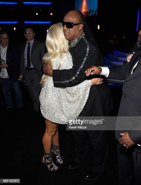 Lady Gaga and Stevie Wonder attend Stevie Wonder Songs In The Key Of Life An AllStar GRAMMY Salute at Nokia Theatre LA Live on February 10 2015 in...