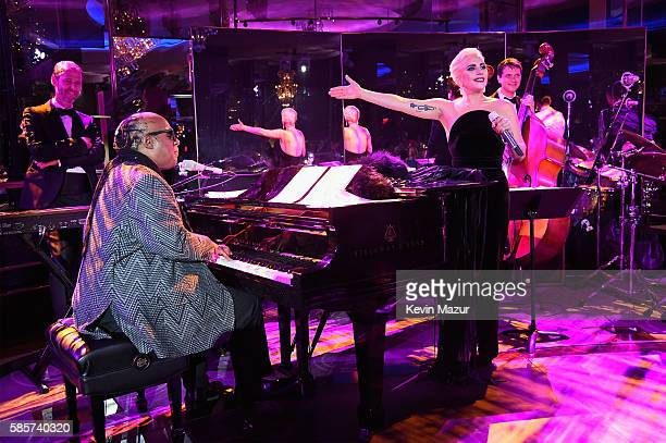 Lady Gaga and Stevie Wonder perform during a celebration of music legend Tony Bennett's 90th birthday at The Rainbow Room on August 3 2016 in New...