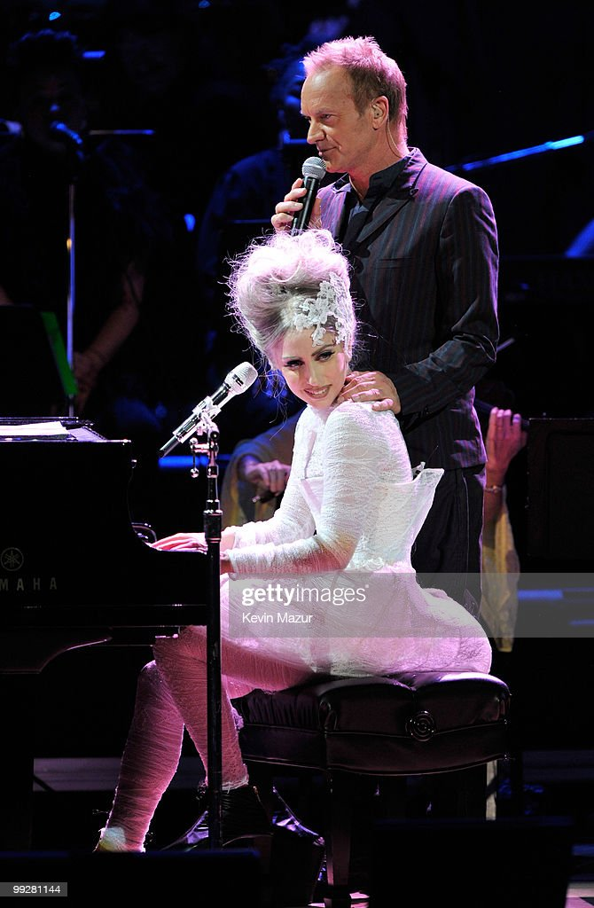 Lady Gaga and Sting perform on stage during the Almay concert to celebrate the Rainforest Fund's 21st birthday at Carnegie Hall on May 13, 2010 in New York City.