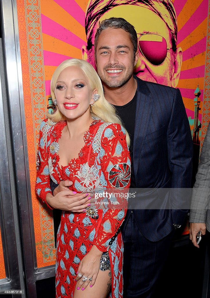 Lady Gaga and Taylor Kinney attend the 'Rock The Kasbah' New York premiere at AMC Loews Lincoln Square 13 theater on October 19, 2015 in New York City.