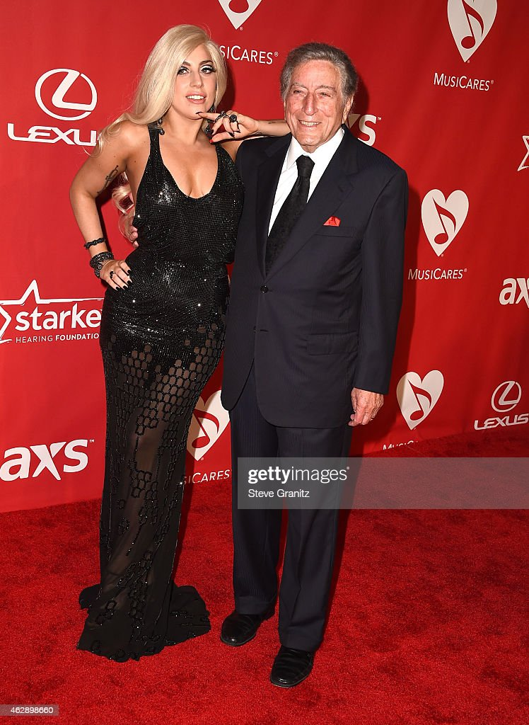 Lady Gaga and Tony Bennett arrives at the MusiCares Person Of The Year Tribute To Bob Dylan on February 6, 2015 in Los Angeles, California.