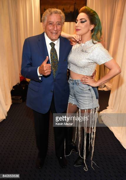 Lady Gaga and Tony Bennett backstage before her Joanne World Tour at Citi Field on August 28 2017 in New York New York