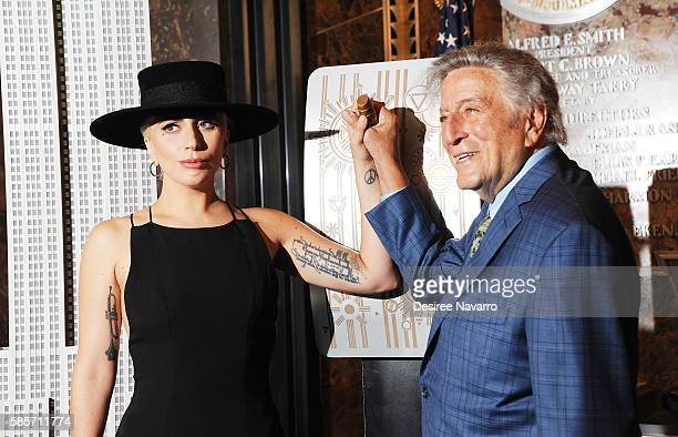 Lady Gaga and Tony Bennett Light The Empire State Building In Honor of Bennett's 90th Birthday at The Empire State Building on August 3 2016 in New...