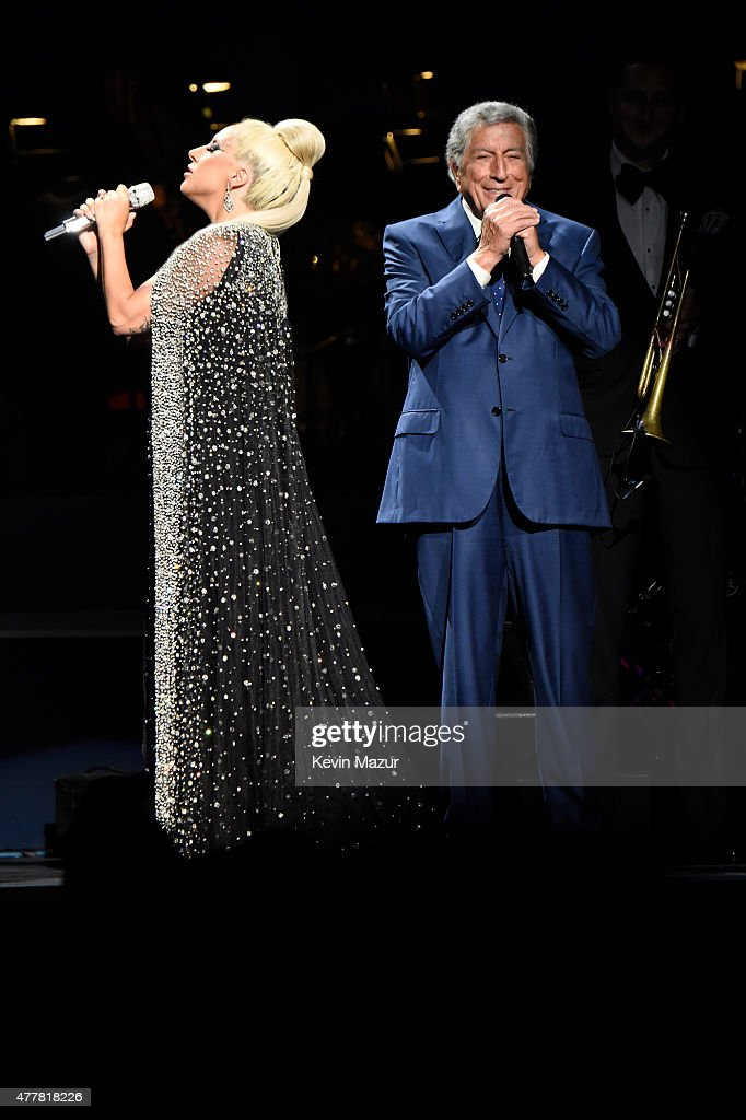 Lady Gaga and Tony Bennett perform onstage during the 'Cheek to Cheek' tour at Radio City Music Hall on June 19, 2015 in New York City.