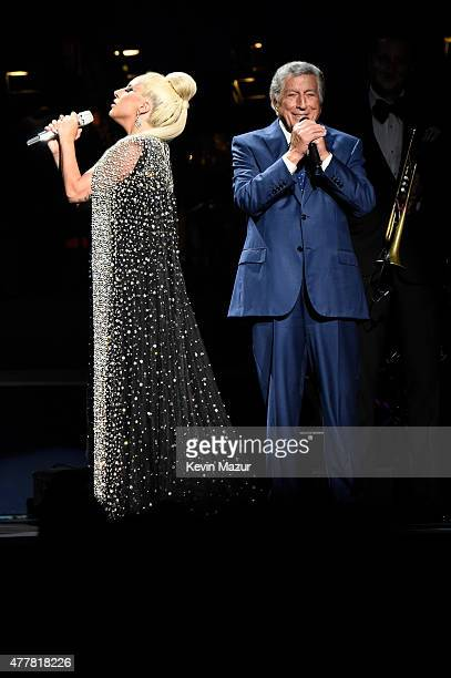 Lady Gaga and Tony Bennett perform onstage during the Cheek to Cheek tour at Radio City Music Hall on June 19 2015 in New York City