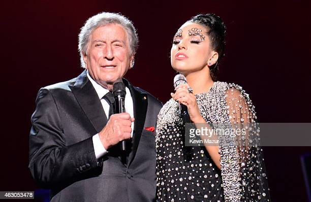 Lady Gaga and Tony Bennett perform onstage in support of their award winning album Cheek To Cheek at The Wiltern on February 8 2015 in Los Angeles...