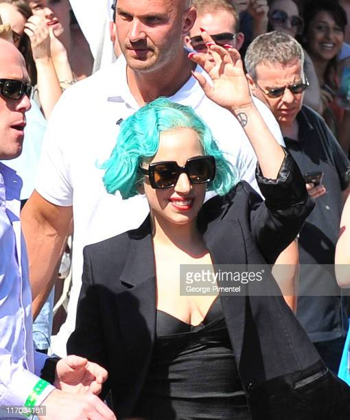Lady Gaga appears backstage at the 22nd Annual MuchMusic Video Awards at the MuchMusic HQ on June 19 2011 in Toronto Canada