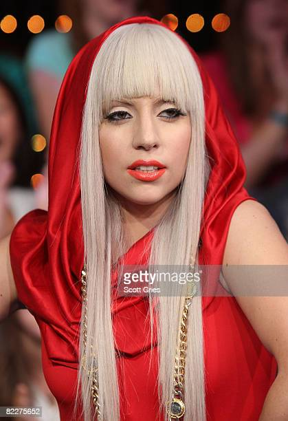 Lady Gaga appears onstage during MTV's Total Request Live at the MTV Times Square Studios August 12 2008 in New York City