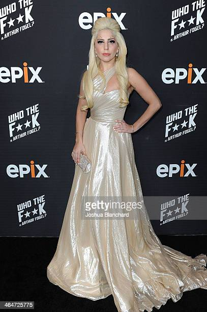 Lady Gaga arrives at an evening with Arthur Fogel hosted by EPIX at the Harmony Gold Preview House and Theater on January 23 2014 in Hollywood...