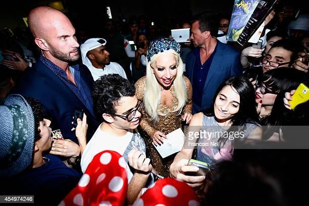 Lady Gaga arrives at Dubai International Airport on September 8 2014 in Dubai United Arab Emirates