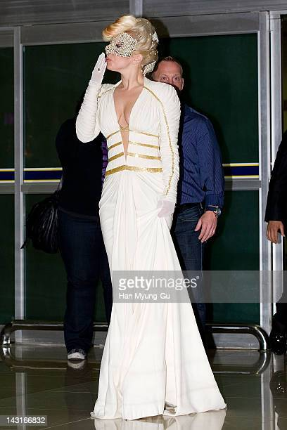 Lady Gaga arrives at Gimpo International Airport on April 20 2012 in Seoul South Korea Lady Gaga is perfoming in a concert sponsored by Hyundai Card...